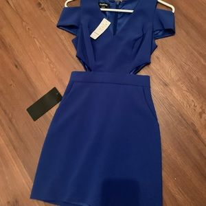 Bebe blue side cut out dress 00